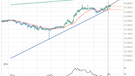 XAG/USD Rising Wedge Target: 14.9500
